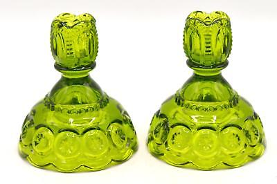 Pair of Vintage L.E. Smith Green Glass Candle Stick Holders