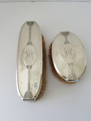 2 Antique Sterling Silver Wallace 9800-5 Art Deco Hand Hammered Vanity Brush Set