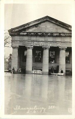 RPPC Postcard Shawneetown IL Flood of 1937, First National Bank, People in Boats