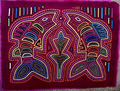 Kuna Indian Art. Hand Stitch. Two nice fishes-202 . Mola Art of Panama.