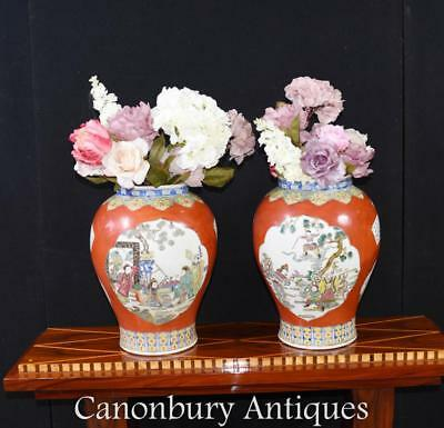 Pair Chinese Qing Porcelain Vases - Temple Jars Imperial Red