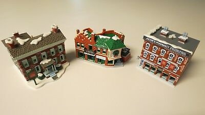 Lot of three Coca-Cola 1991 Building  Christmas Ornaments- Lightable