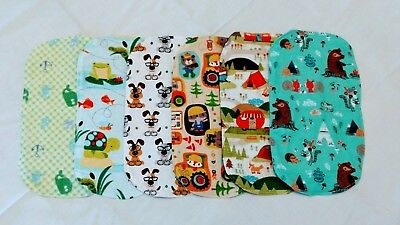 Double Flannel NEW Lot of 6 Burp Cloths for Boys - Sea/Camp/Puppies Set