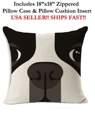 "18x18 18"" ENGLISH TERRIER BULLDOG FRENCHIE DOG Zippered Pillow Case & Cushion"