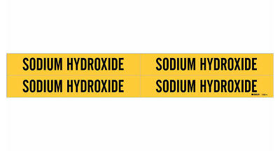 Brady 7263-4, 90270 Yellow Vinyl Stickers Pipe Marker SODIUM HYDROXIDE, 50 Cards