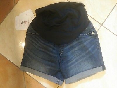NWT by INGRID & ISABEL Maternity Midi Blue Jeans Stretch Shorts Women's Size 00