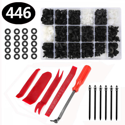446 Pcs Car Retainer Clips, Aiskki Auto Plastic & Fasteners Kit with Fastener Re