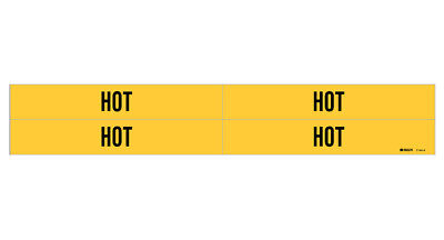 Brady 7144-4, 79725 Yellow Vinyl Stickers Pipe Marker HOT 3/4- 2-3/8 In Pipe- 50
