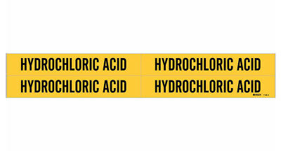 Brady 7156-4, 79244 Yellow Vinyl Stickers Pipe Marker HYDROCHLORIC ACID- 50 Pack
