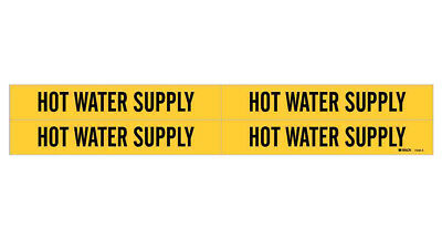 Brady 7149-4, 79831 Yellow Vinyl Stickers Pipe Marker, HOT WATER SUPPLY- 50 Pack