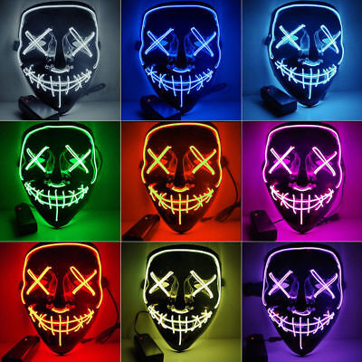 """The Purge Rave Party Light Up """"Stitches"""" Scary LED Mask Costume Cosplay Xmas"""