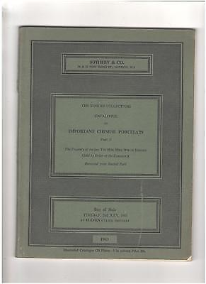 Sotheby's Catalog, Important Chinese Porcelain, Ionides Collections, July, 1963