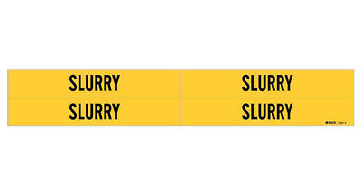 Brady 7261-4, 77595 Yellow Vinyl Stickers Pipe Marker, SLURRY, 100 Pack