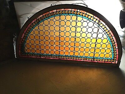 Antique American Stained Glass Window Transom Original