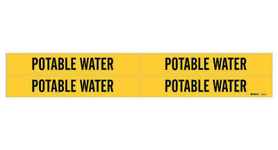 Brady 7218-4, 79934 Yellow Vinyl Stickers Pipe Marker POTABLE WATER, 50 Cards