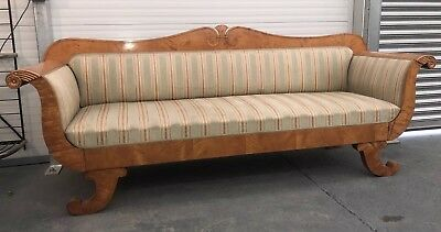 Impressive Biedermeier Birch Root 4 Seater Sofa, Antique Settee,Silk Upholstery