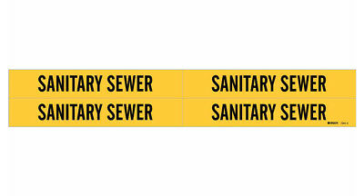 Brady 7251-4, 36264 Yellow Vinyl Stickers Pipe Marker SANITARY SEWER- 50 Pack