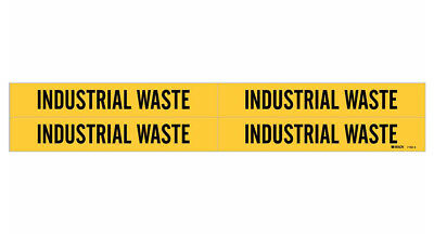 Brady 7162-4, 90248 Yellow Vinyl Stickers Pipe Marker, INDUSTRIAL WASTE- 50 Pack