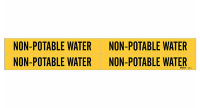 Brady 7203-4, 79228 Yellow Vinyl Stickers Pipe Marker NON-POTABLE WATER- 50 Pack