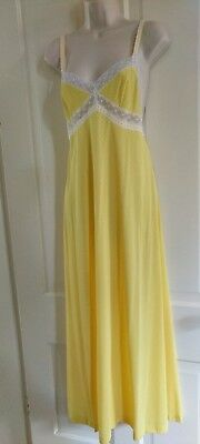 GOSSARD ARTEMIS VTG 60's Womens Nightgown Yellow Polka Dot Lace Full Length M/L