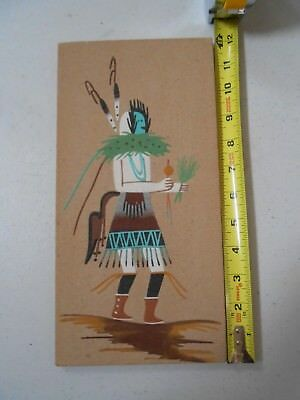 Nice Vintage Older Navajo Indian Sand Art Painting Signed 6 X 12 Inches A