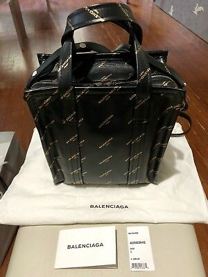 cfd97af64d46 Rare BALENCIAGA Black and Gold Leather Bazar Shopper AJ Tote Bag XS Runway