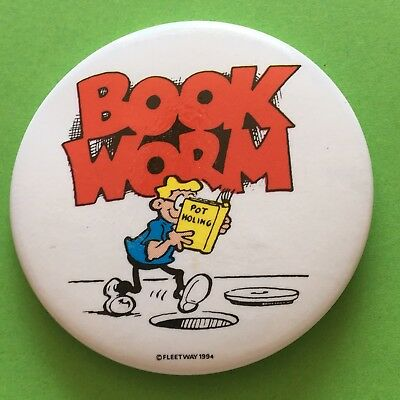 Whoopee! Comic Character Book Worm Pin Badge (see pics) Bookworm
