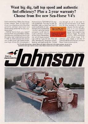 1966 Vintage ad Johnson Outboard Motor Sea Horse V-4s Great Color!