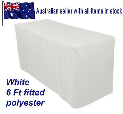 1.8m 6FT Fitted white Trestle Table Cover Tablecloth Functions Weddings Markets