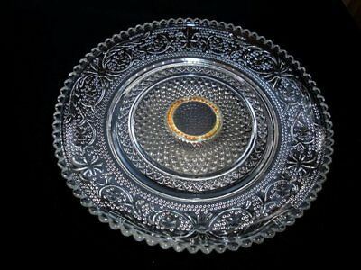 Vintage Crystal or Glass Footed Serving Dish Candy Bowl with Floral Fleur de Lis