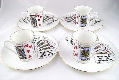 Queens Fine Bone China Cut For Coffee Playing Cards Snack Plate & Mug Set of 4