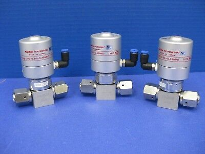 "Fujikin Mega-M LA FP-UDDF-71-6.35-2 Pneumatic Valve, 1/4"" F UJR, Lot of 3 Used"