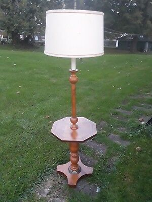 Mid Century Maple Floor Lamp with Table Shelf Rare