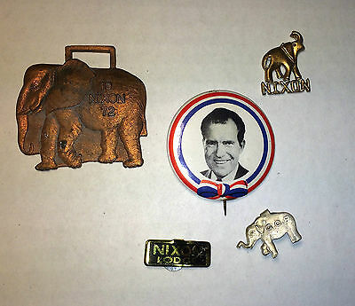 (5) Piece Original Vintage Republican President Richard Nixon / GOP Pinbacks 72'