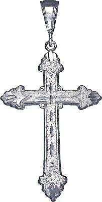 """925 Sterling Silver Cross Charm Pendant Necklace with Diamond Cuts and 24"""" Chain"""