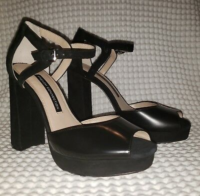 64c2e2e114f French Connection Women Sz 7 Dita Black Heels Or Shoes Open Toe Ankle Strap