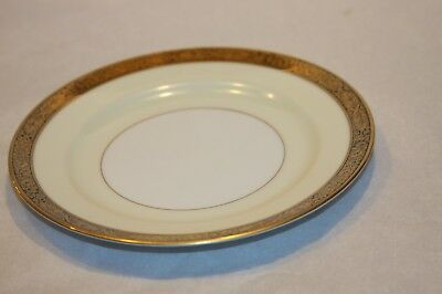 "Noritake GOLDKIN 4985 Bread Plate 6"" Gold Blk Band Cream & Wht B"