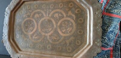 Old Northern India Copper Tray …beautiful designs and patina