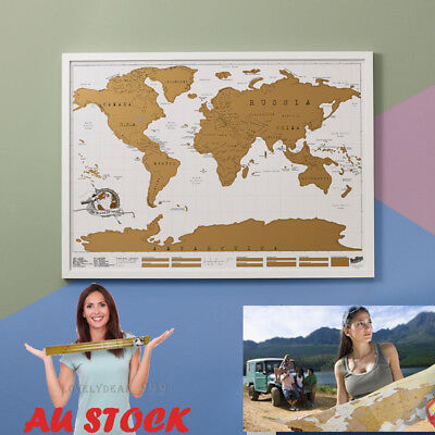 Big Scratch Off World Map Deluxe Edition Travel Log Journal Poster Wall Decor AU