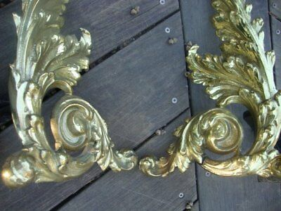 Two Cast Iron Fireplace Log Holders Gold Paint Distressed Ornate Andirons Brass