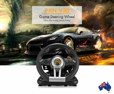 PXN V3II Racing Game Steering Wheel with Foldable Brake Pedal For PC PS4 XBOX OK