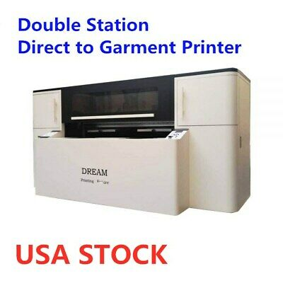 US STOCK Double Station Direct to Garment Printer with Industrial Printing Heads