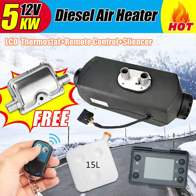 12V 5KW Diesel Air Heater 15L Tank Silencer Fliter T-Piece digital Switch Black