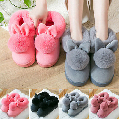 Men Women Winter Warm Soft Home Indoor Shoes Plush Bunny Rabbit Slippers New