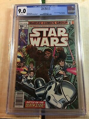 Star Wars # 3  Marvel Comics 9/77 Cgc Universal Grade 9.0 White Pages New Case