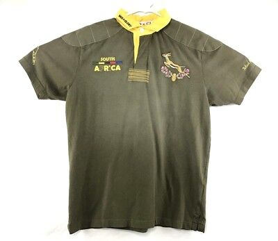 Mud And Glory Mens Athletic Polo Rugby Shirt Gray South Africa Team Size Medium