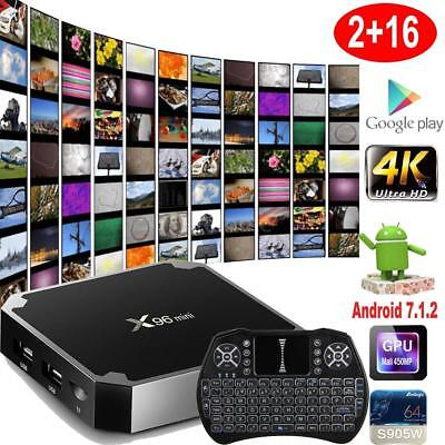 X96 mini 4K S905W Quad Core Android 7.1 Smart TV BOX H.265 2G+16G Media Clavier