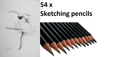 54 Pcs Sketch Pencils Artist Package For Drawing Sketching Charcoal Shading