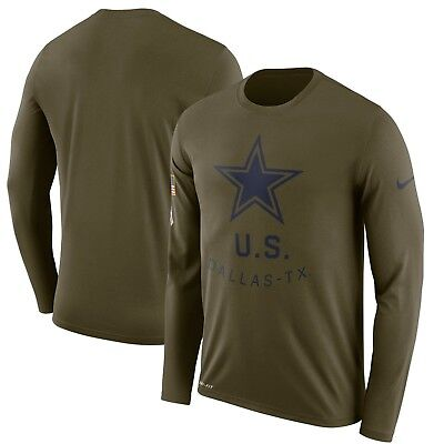 Dallas Cowboys Nike Salute to Service Sideline Legend Long Sleeve Tee Shirt