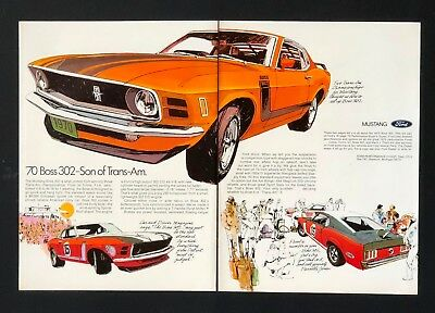 1970 Ford Mustang Boss 302 Advertisement 2 Page Color Artwork Vintage Print AD